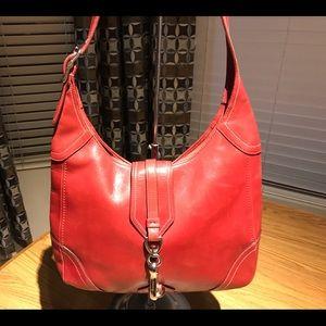 Coach Red Leather Hamptons Slim Hobo Shoulder Bag